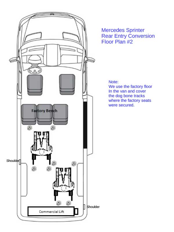 Mercedes-Benz rear-entry floor plan