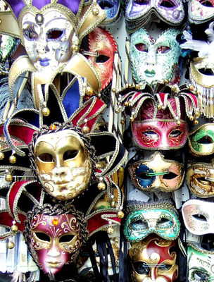 Many colorful Mardi Gras masks for sale