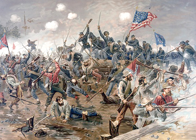 Oil painting of a Civil War battle