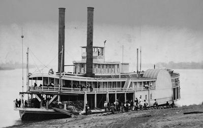 Old photo of a steam boat on the Mississippi River