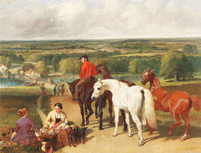 Oil painting of horses and a rider
