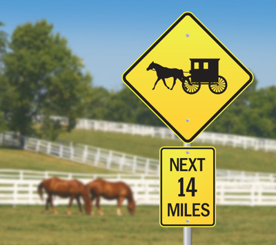 Amish buggy roadsign