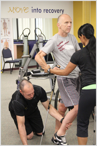 trainers working with man