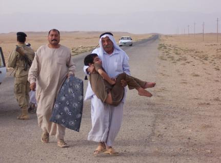Arab carries child